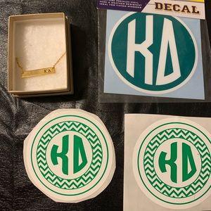 Kappa Delta Gold Bar Necklace & 3 Vinyls, 2 sizes